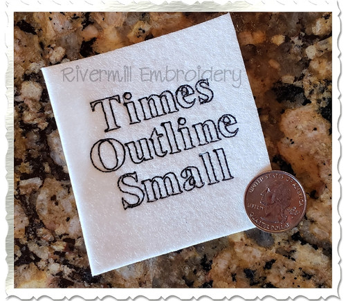 "Small Mini Times Outline Machine Embroidery Font Alphabet - 1/2"" & 3/4"""