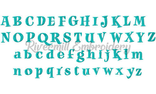 "Small Jiggy Machine Embroidery Font Alphabet - 1 1/4"" Size"