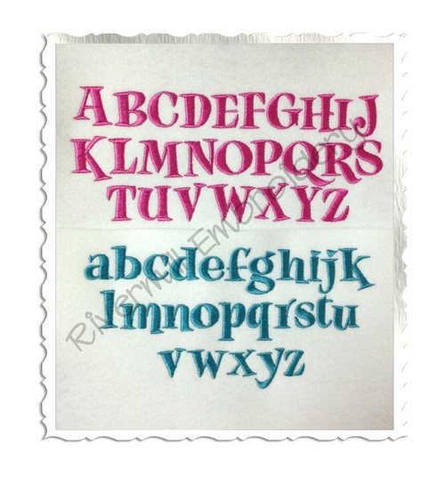 "Small Jiggy Machine Embroidery Font Alphabet - 1"" and 1 1/2"" Sizes"