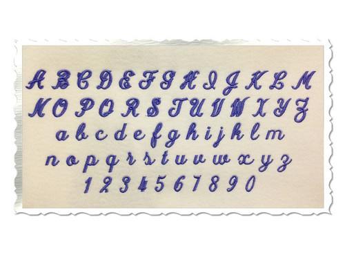 "Small Mini Simple Script Machine Embroidery Font Alphabet - 1/2"" & 3/4"""