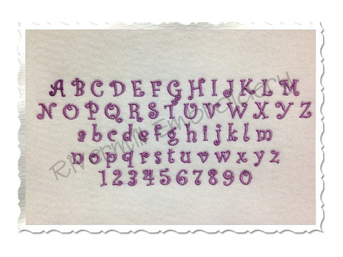 "Small Mini Curlz Machine Embroidery Font Alphabet - 1/2"" & 3/4"""