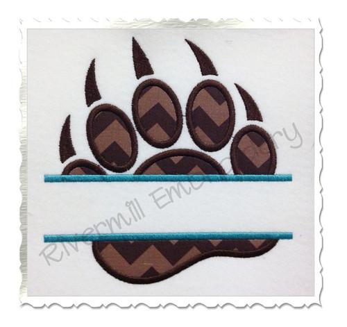 Split Applique Bear Paw Print Machine Embroidery Design