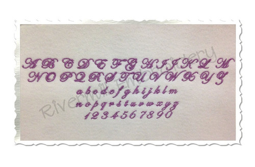 "Small Mini Edwardian Script Machine Embroidery Font Alphabet - 1/2"" & 3/4"""
