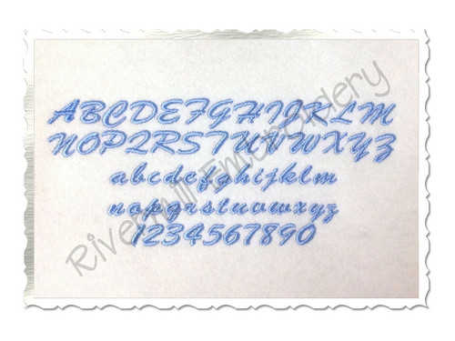 "Small Mini Casual Script Machine Embroidery Font Alphabet - 1/2"" & 3/4"""