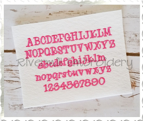 "Small Mini Maddie Machine Embroidery Font Alphabet - 1/2"" & 3/4"""
