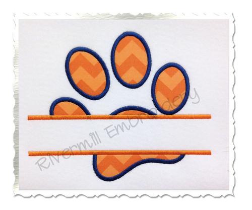 Split Applique Paw Print Machine Embroidery Design