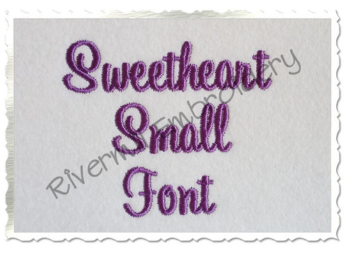 "Small Sweetheart Machine Embroidery Font - 3/4"" Size Only"