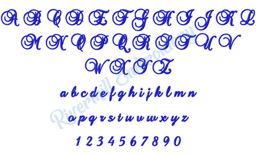 "Small Brock Script Machine Embroidery Font - 3/4"" Size Only"