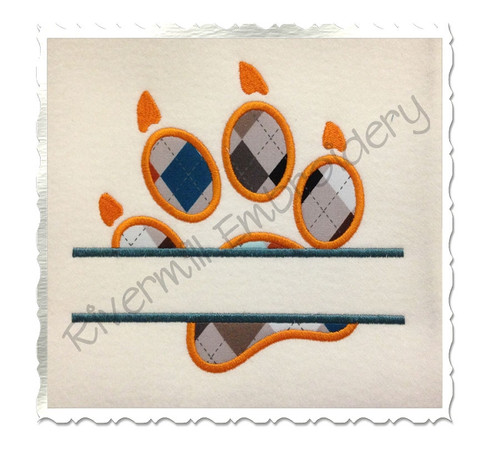 Split Applique Paw Print With Claws Machine Embroidery Design