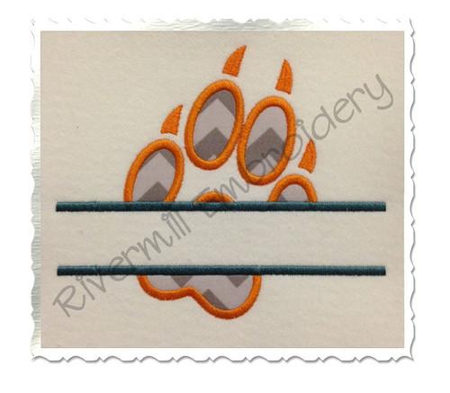Split Applique Wolf Paw Print Machine Embroidery Design