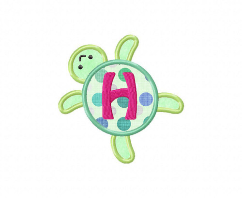 Sea Turtle Applique Alphabet Machine Embroidery Design