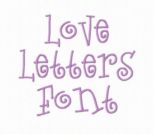 Love Letters Machine Embroidery Font