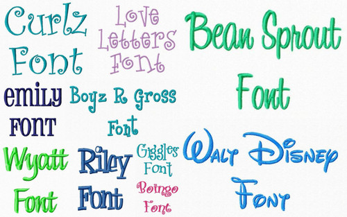 Machine Embroidery Font Package - 10 Different Fonts