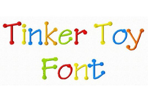 Tinker Toy Machine Embroidery Font