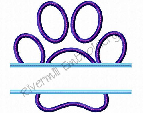 Split Applique Paw Print w/ Bean Stitch Machine Embroidery Design