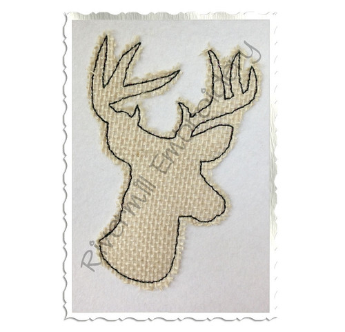 Raggy Applique Deer Head Buck Silhouette Machine Embroidery Design