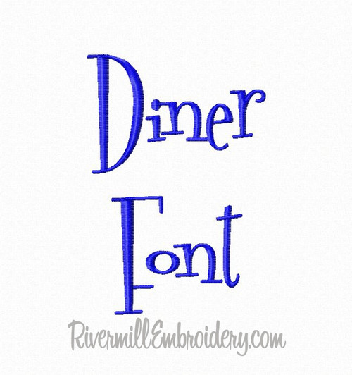 Diner Machine Embroidery Font