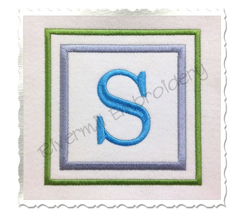 Double Square  Initial Monogram Machine Embroidery Font