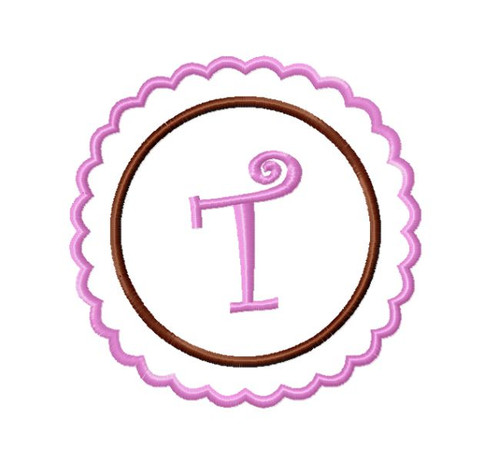 Scalloped Circle Initial Monogram Machine Embroidery Font