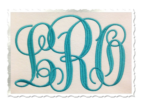 Large Fancy Curly Monogram Machine Embroidery Font