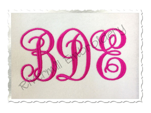 Fancy Curly Monogram Machine Embroidery Font