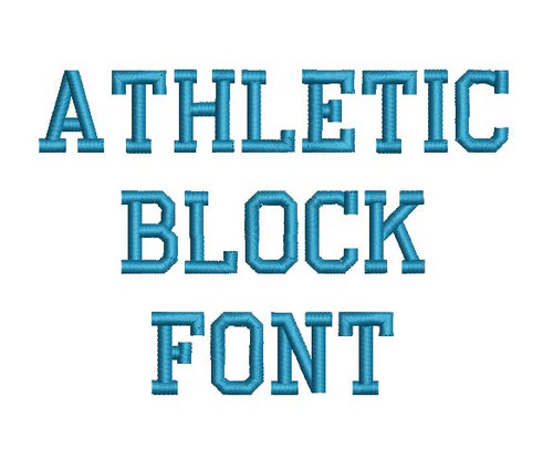 Athletic Block Machine Embroidery Font Alphabet