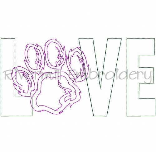 Raggy Applique Love with a Paw Print Machine Embroidery Design (Style 2)