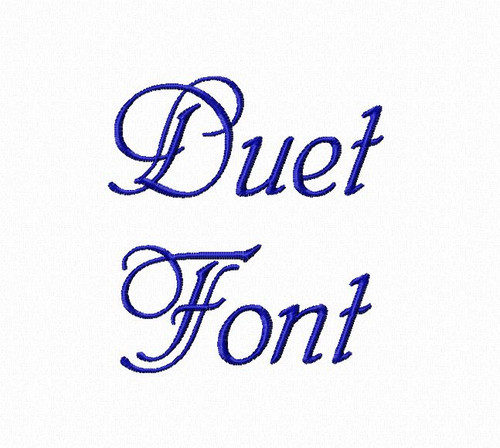 Duet Machine Embroidery Font