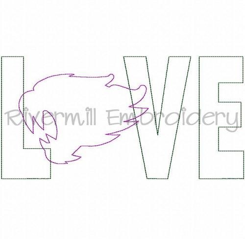 Raggy Applique Wildcat Love Machine Embroidery Design