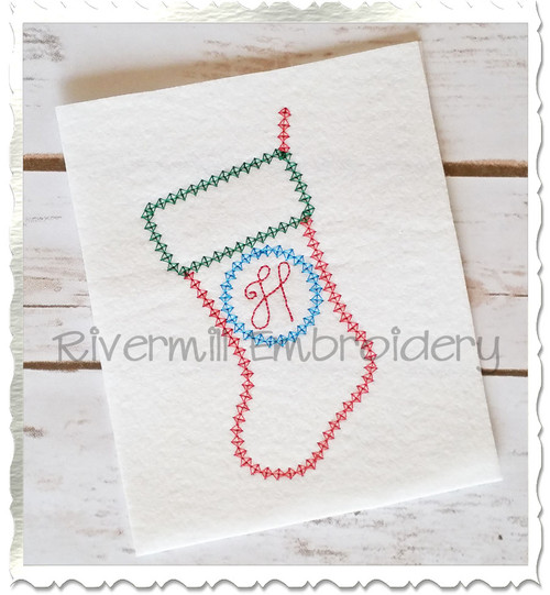 FREE Vintage Style Christmas Stocking Machine Embroidery Design
