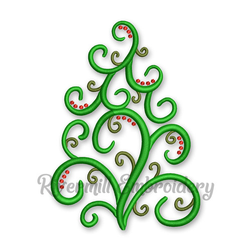 Swirl Christmas Tree Machine Embroidery Design