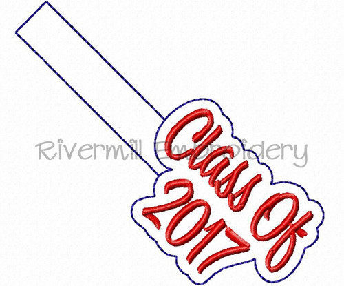 Class of 2017 In The Hoop Snap Tab Key Fob Machine Embroidery Design