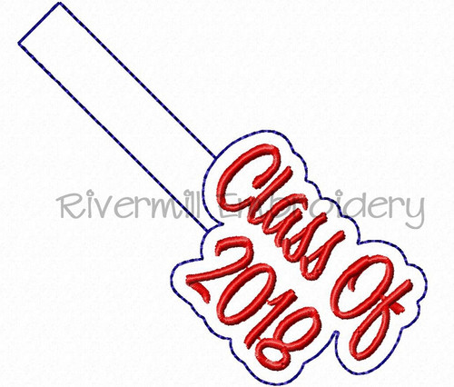 Class of 2018 In The Hoop Snap Tab Key Fob Machine Embroidery Design