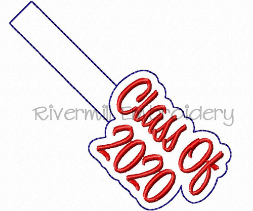 Class of 2020 In The Hoop Snap Tab Key Fob Machine Embroidery Design