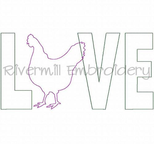 Raggy Applique Chicken Love Machine Embroidery Design