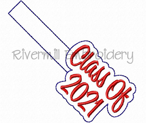 Class of 2021 In The Hoop Snap Tab Key Fob Machine Embroidery Design