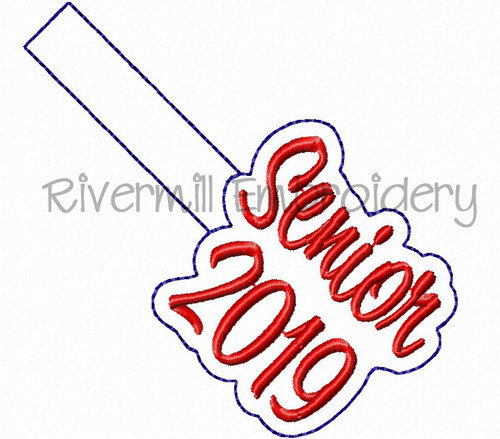 Senior 2019 In The Hoop Snap Tab Key Fob Machine Embroidery Design