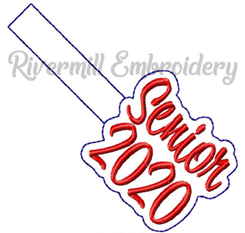 Senior 2020 In The Hoop Snap Tab Key Fob Machine Embroidery Design