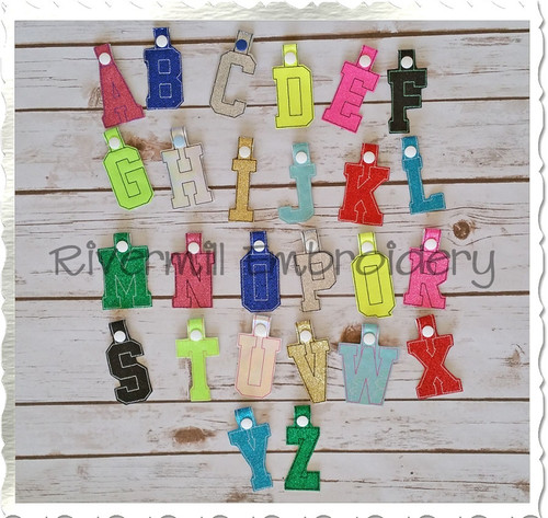 Set of 26 Letters In The Hoop Snap Tab Key Fob Machine Embroidery Designs