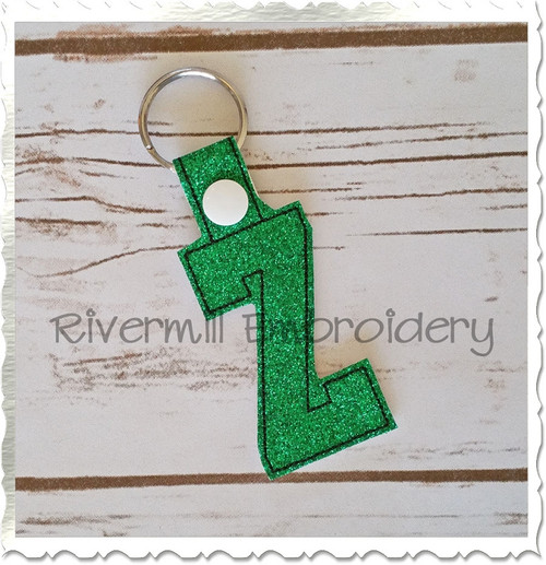 Letter Z In The Hoop Snap Tab Key Fob Machine Embroidery Design