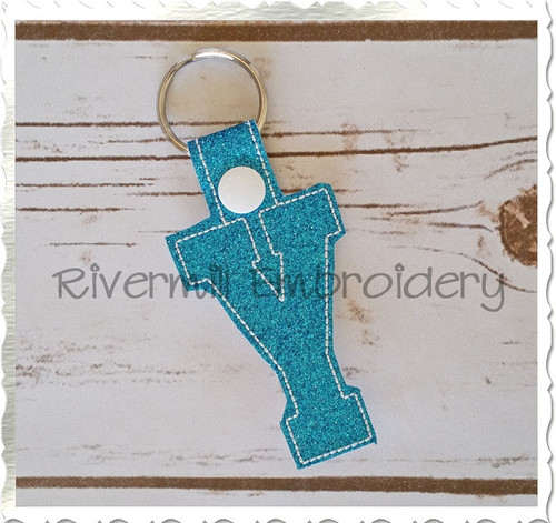 Letter Y In The Hoop Snap Tab Key Fob Machine Embroidery Design