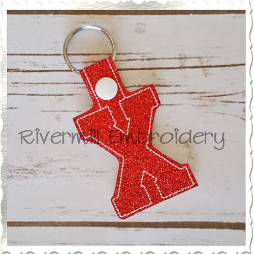 Letter X In The Hoop Snap Tab Key Fob Machine Embroidery Design