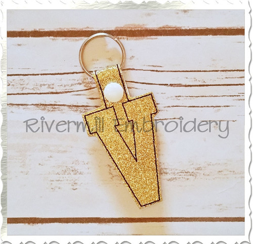 Letter V In The Hoop Snap Tab Key Fob Machine Embroidery Design