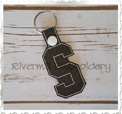 Letter S In The Hoop Snap Tab Key Fob Machine Embroidery Design
