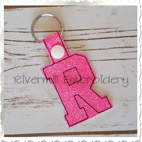 Letter R In The Hoop Snap Tab Key Fob Machine Embroidery Design