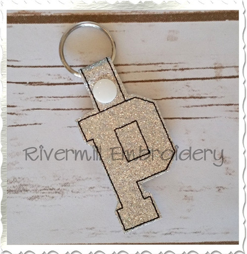 Letter P In The Hoop Snap Tab Key Fob Machine Embroidery Design