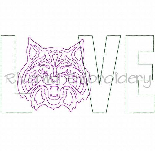 Raggy Applique Wildcat Love Machine Embroidery Design (Style 2)