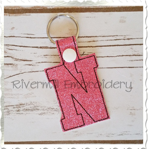 Letter N In The Hoop Snap Tab Key Fob Machine Embroidery Design