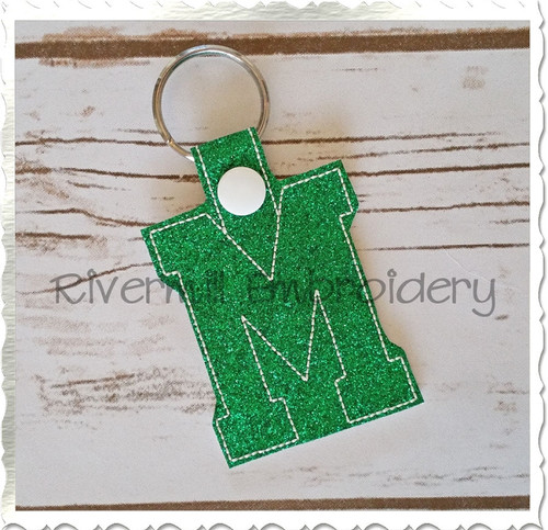 Letter M In The Hoop Snap Tab Key Fob Machine Embroidery Design