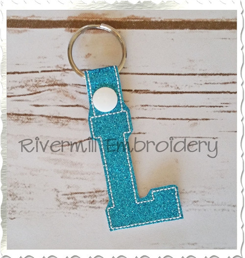 Letter L In The Hoop Snap Tab Key Fob Machine Embroidery Design